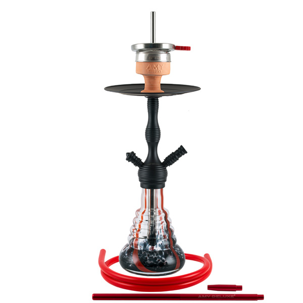 Vodní dýmka AMY Small Rips Klick II 50 cm red - RS black